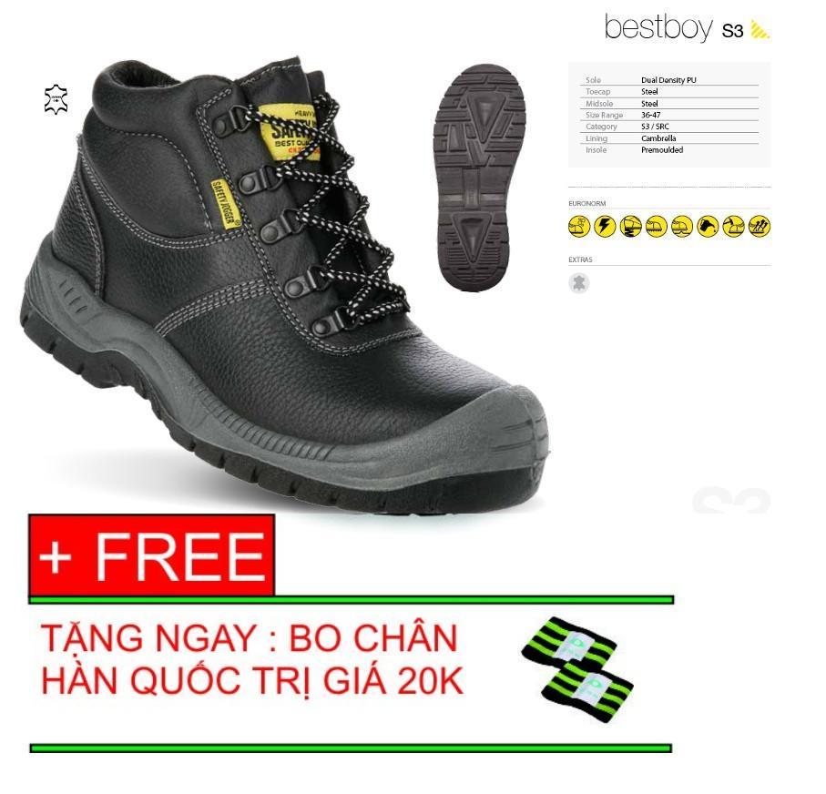 Giày bảo hộ lao động cao cổ cao cấp Safety Jogger Bestboy s3 tặng kèm bó chân hàn quốc