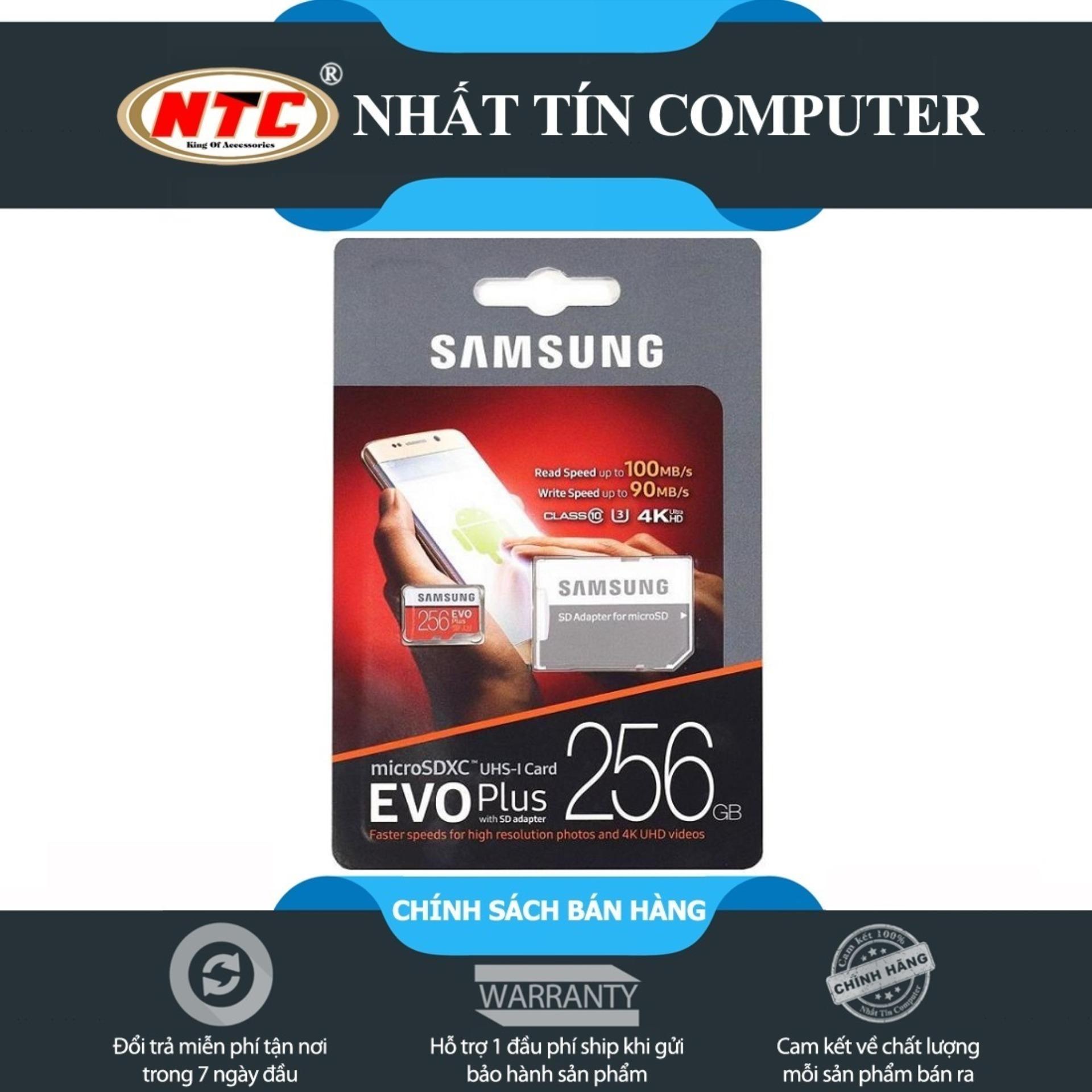 Thẻ nhớ MicroSDXC Samsung Evo Plus 256GB UHS-I U3 4K 100MB/s kèm Adapter - box Anh (Đỏ)