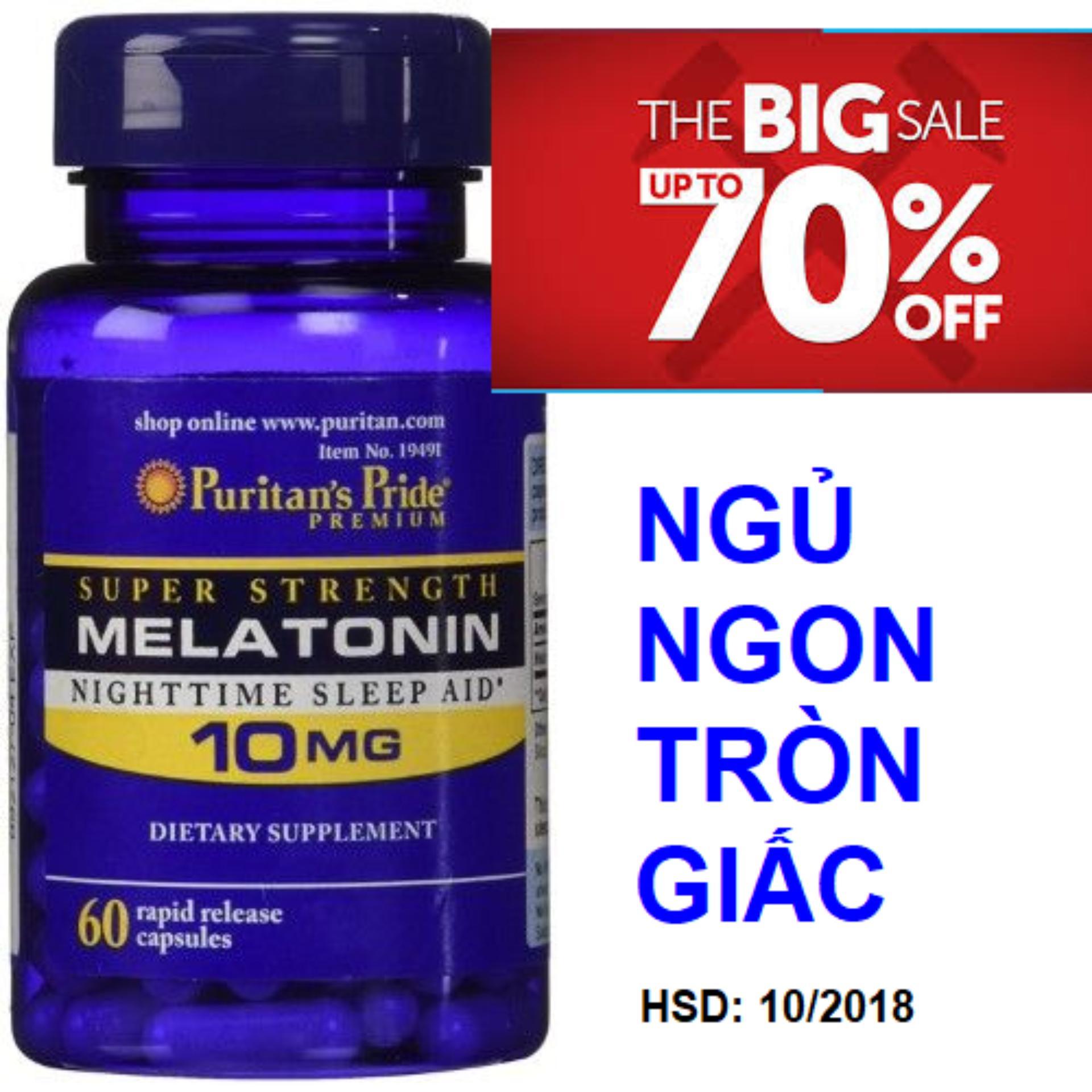 Hình ảnh Viên uống hỗ trợ giấc ngủ tự nhiên, giúp ngủ ngon không gây tác dụng phụ Puritan's Pride Extra Strength Melatonin 5mg 60 viên HSD tháng 10/2018