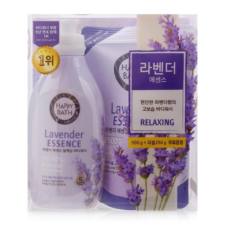 Bộ sữa tắm Happy Bath Lavender Essence 500gr + 250gr