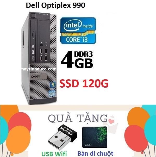 Máy Tính Đồng Bộ Đồng Bộ Dell Optiplex 990 ( Core i3 2100 / 4G / SSD 120G ) , Tặng USB Wifi , Bàn di chuột, Bảo hành 24 tháng - Hàng Nhập Khẩu