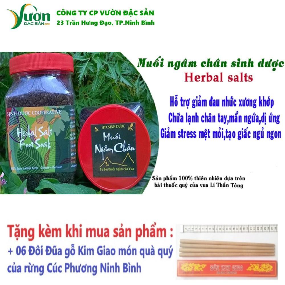 06 Lọ (1 liệu trình) Muối thảo dược ngâm chân Sinh Dược 450gr 100% tự nhiên từ bài thuốc cổ truyền + Tặng 06 Đôi đũa gỗ Kim Giao -VDS.,jsc