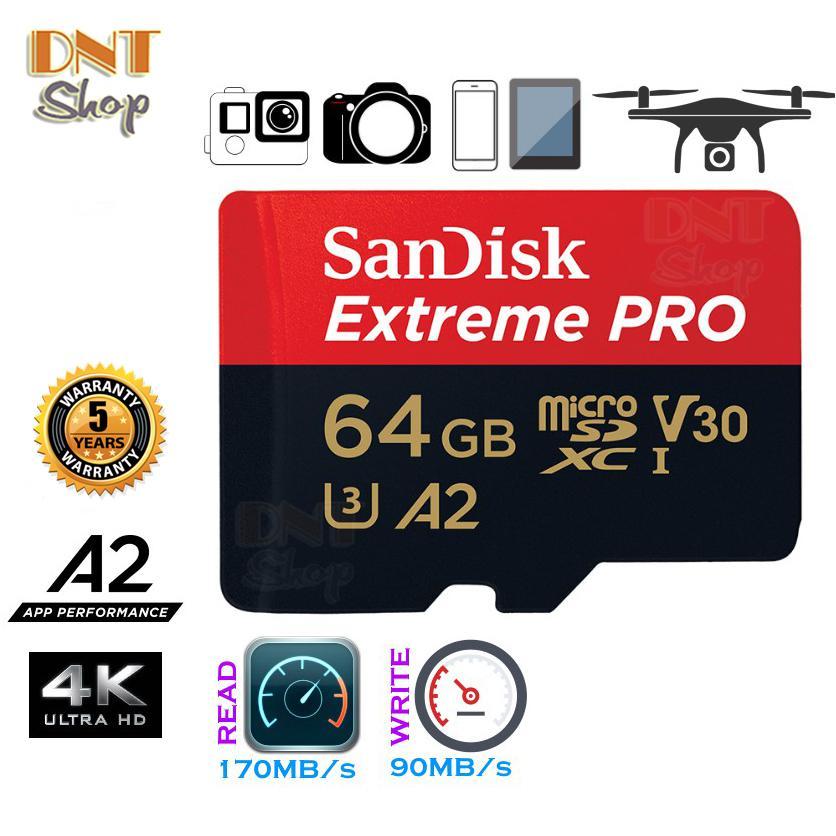 Mã Giảm Giá Thẻ Nhớ MicroSDXC SanDisk Extreme PRO A2 - 64GB V30 U3 Class 10 UHS-I 170MB/s (SDSQXCY-064G-GN6MA)