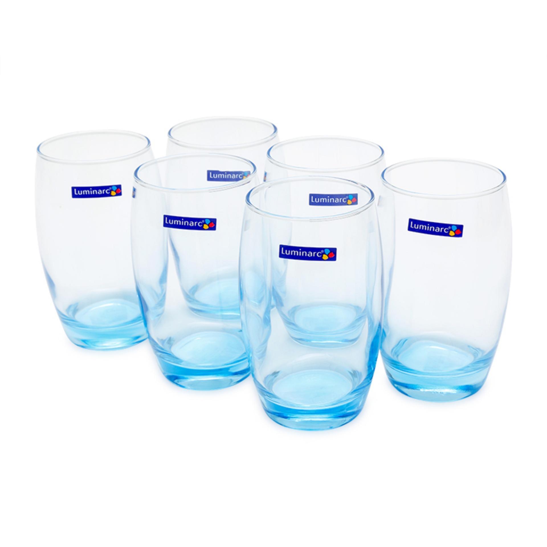 Giá Bán Bộ 6 Ly Thủy Tinh Cao Luminarc Salto Ice Blue 350Ml J1585 Mới