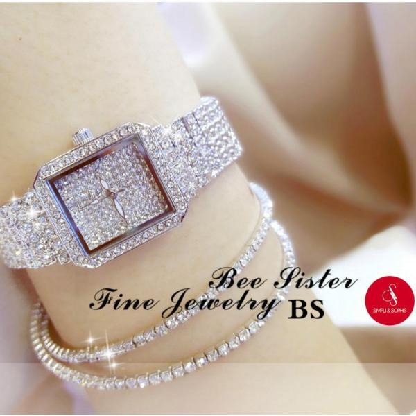 Đồng hồ nữ Bee Sister 0510 đính đá cao cấp 30mm (Bạc/ Vàng/ Vàng hồng) + Tặng hộp đựng đồng hồ thời trang & Pin