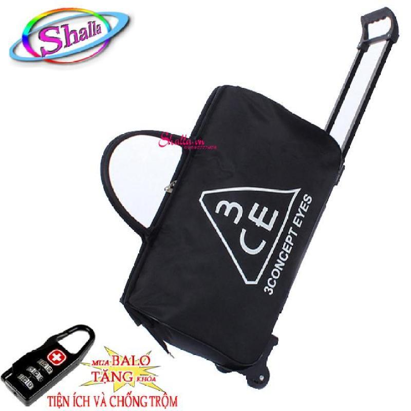 Túi du lịch cần kéo 3CE Shalla  (Đen ,hồng)Tặng khóa