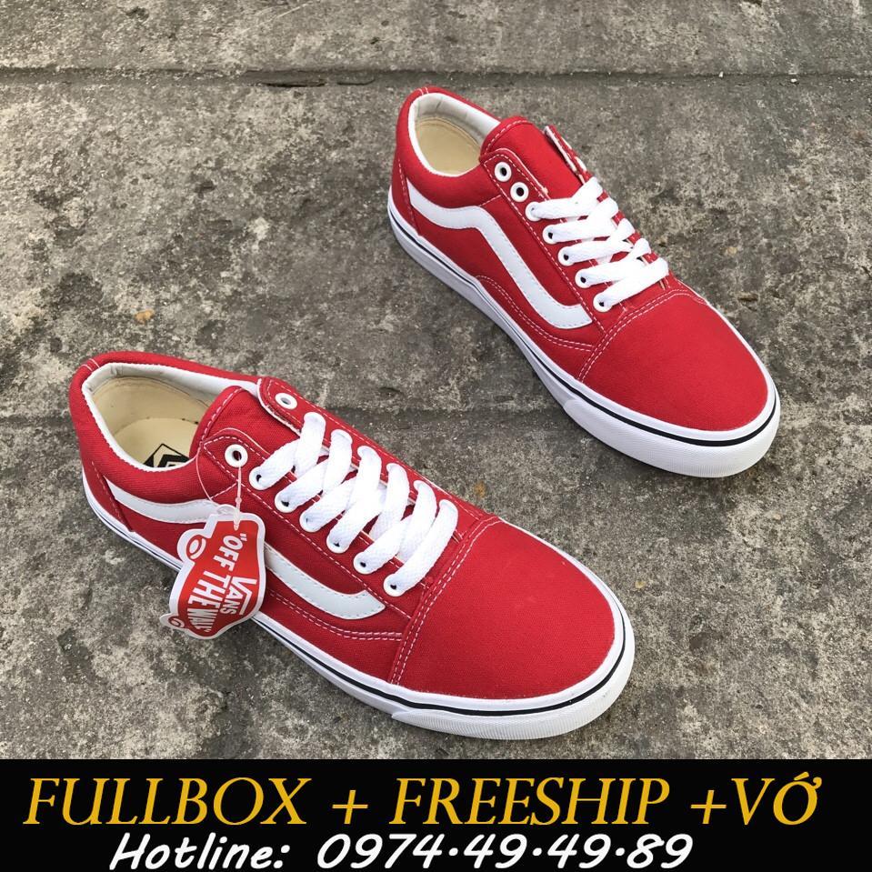 Hình ảnh [FULLBOX+FREESHIP+VỚ] Giày Van Old Skool Màu Đỏ Tươi Hàng S.F có video shop quay