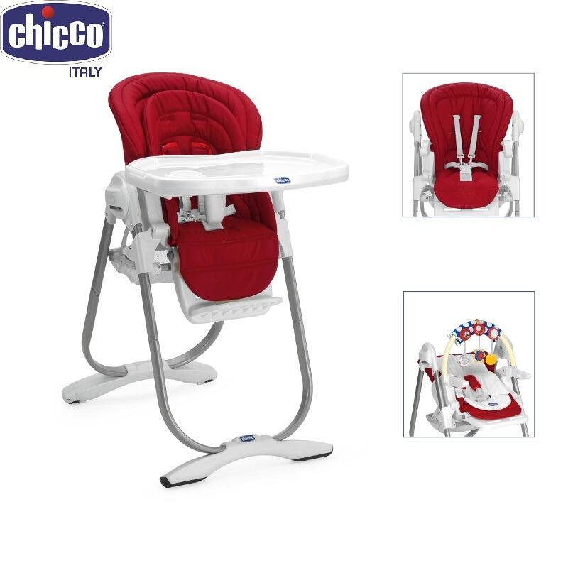 Ghế ăn Polly Magic màu đỏ thương hiệu Chicco