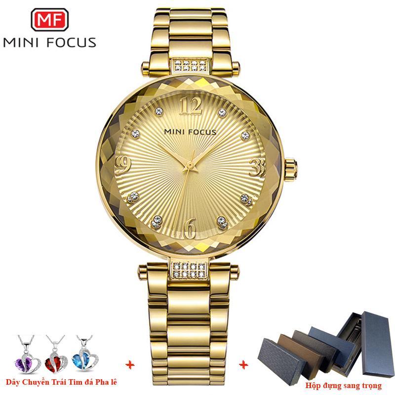 Nơi bán ( tặng dây chuyền trái tim )Đồng hồ nữ MINI FOCUS dây thép mặt số đính đá cao cấp sang trọng MDL-MF038