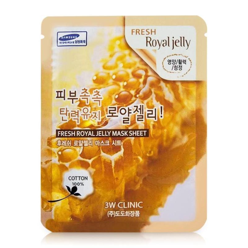 Mặt Nạ Hàn Quốc mặt nạ chiết xuất sữa ong chúa 3W Clinic Fresh Royal Jelly Mask Sheet 23ml X 10 nhập khẩu
