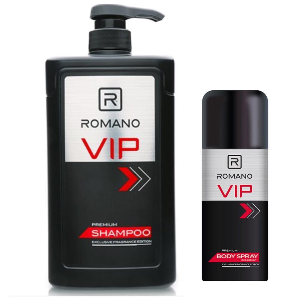 Combo Dầu Gội Romnano VIP 650ml+Xịt khử mùi Vip 150ml