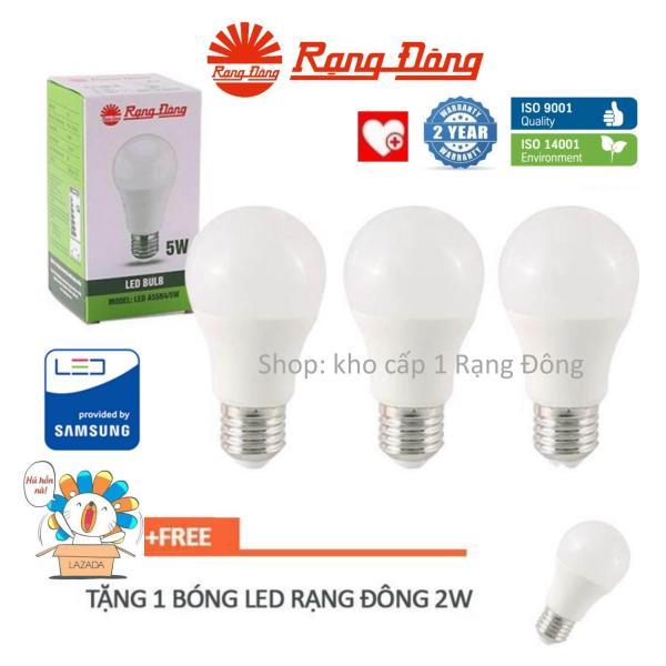 [Lấy mã giảm thêm 30%]Bộ 3 bóng LED 12W Rạng Đông (Tặng 1 bóng LED Rạng Đông 2W) ChipLED Samsung bảo hành 2 năm Mới