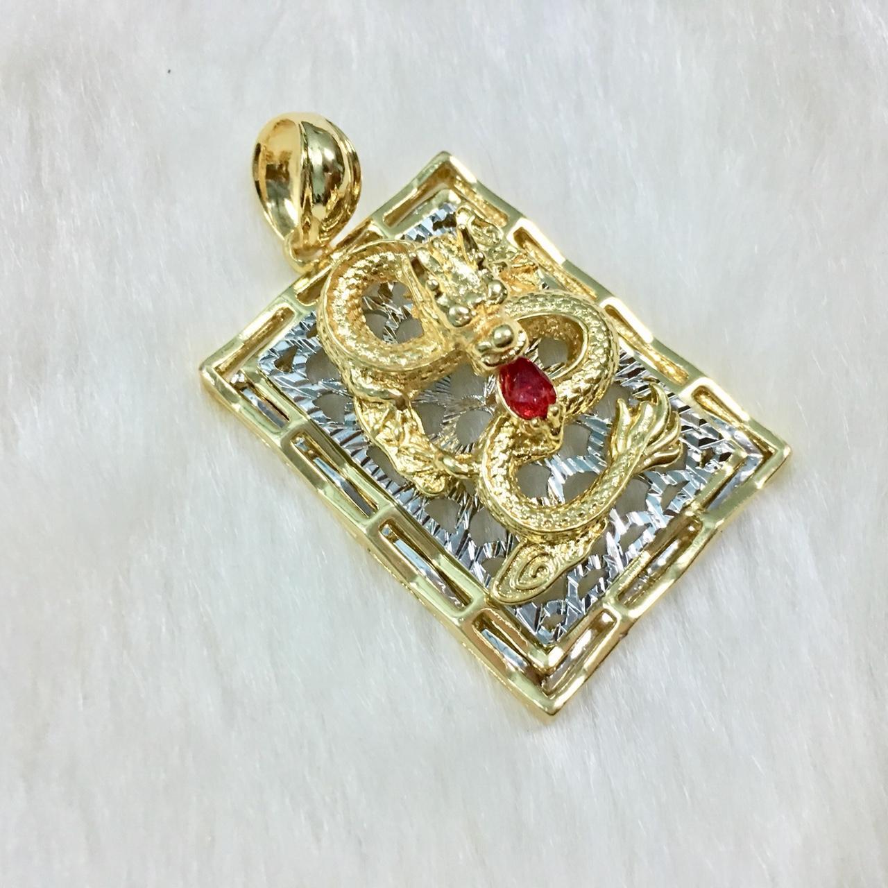 Dây chuyền nam mặt chạm rồng bay ngậm ngọc đỏ độc đáo RD01 (dây vàng, dây 2màu vàng-trắng + mặt, có kèm túi nhung cao cấp)