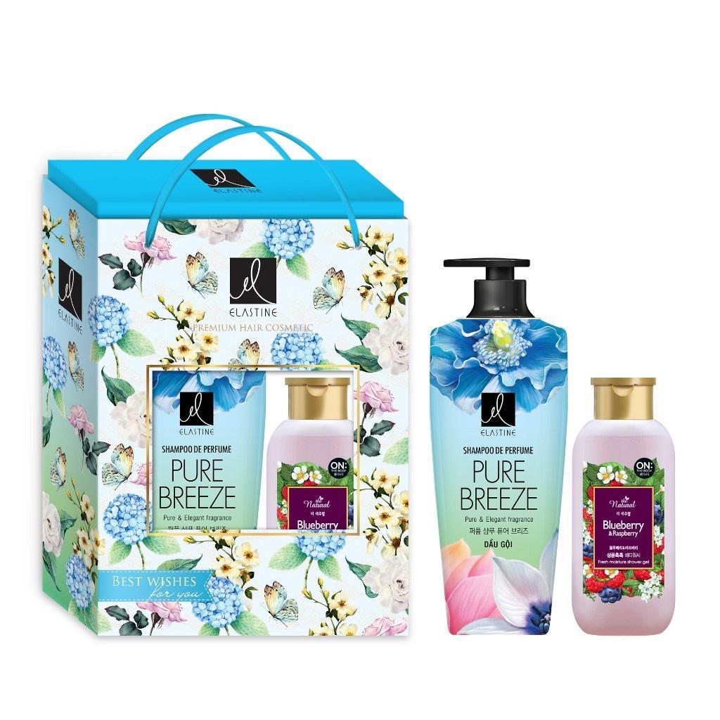 Bộ hộp quà dầu gội Elastine Pure Breeze 600ml + sữa tắm On The Body Natural Blueberry & Raspberry(Việt quất&Dâu rừng) 200g) nhập khẩu