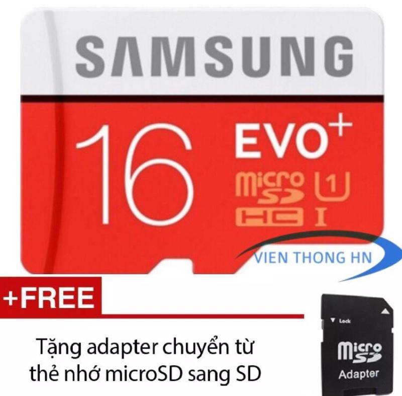 Thẻ nhớ MicroSD SAMSUNG EVO PLUS 16GB UHS 1 - KÈM ADAPTER - BH 5 NĂM