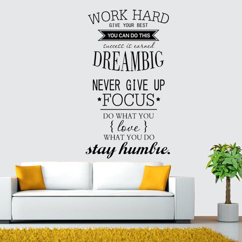 Giấy dán tường chữ truyền động lực WORK HARD - DREAMS BIG