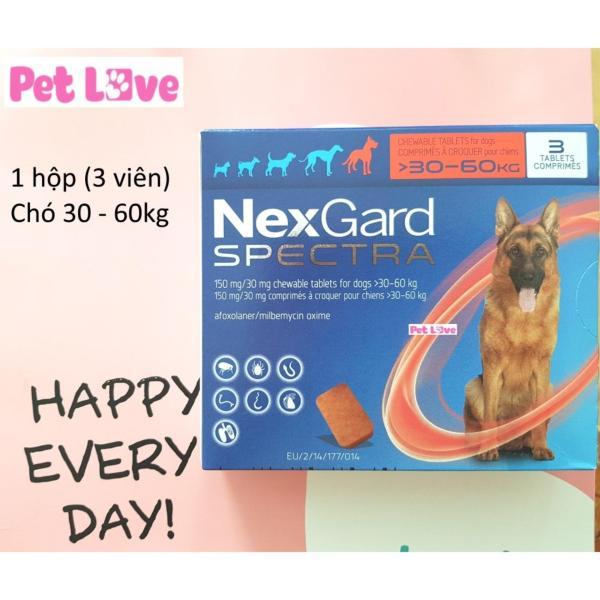 1 hộp NexGard Spectra xổ giun, diệt ghẻ, viêm da, ve rận (chó 30 - 60kg; 3 viên/ hộp)