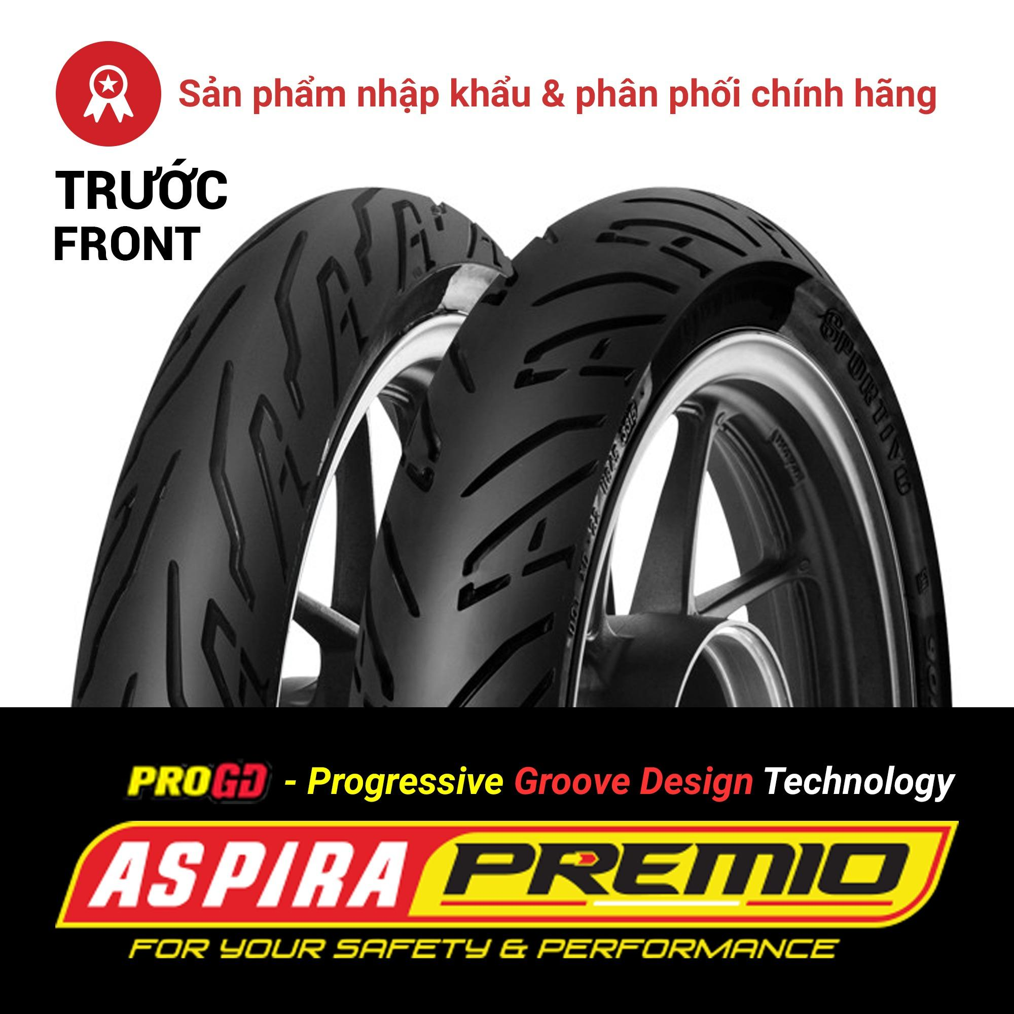 Thay lốp (vỏ) trước 80/90-14 TL Aspira Premio Sportivo chính hãng cho xe tay ga Honda AirBlade, Vision, Click, Vario, Yamaha Mio Nhật Bản