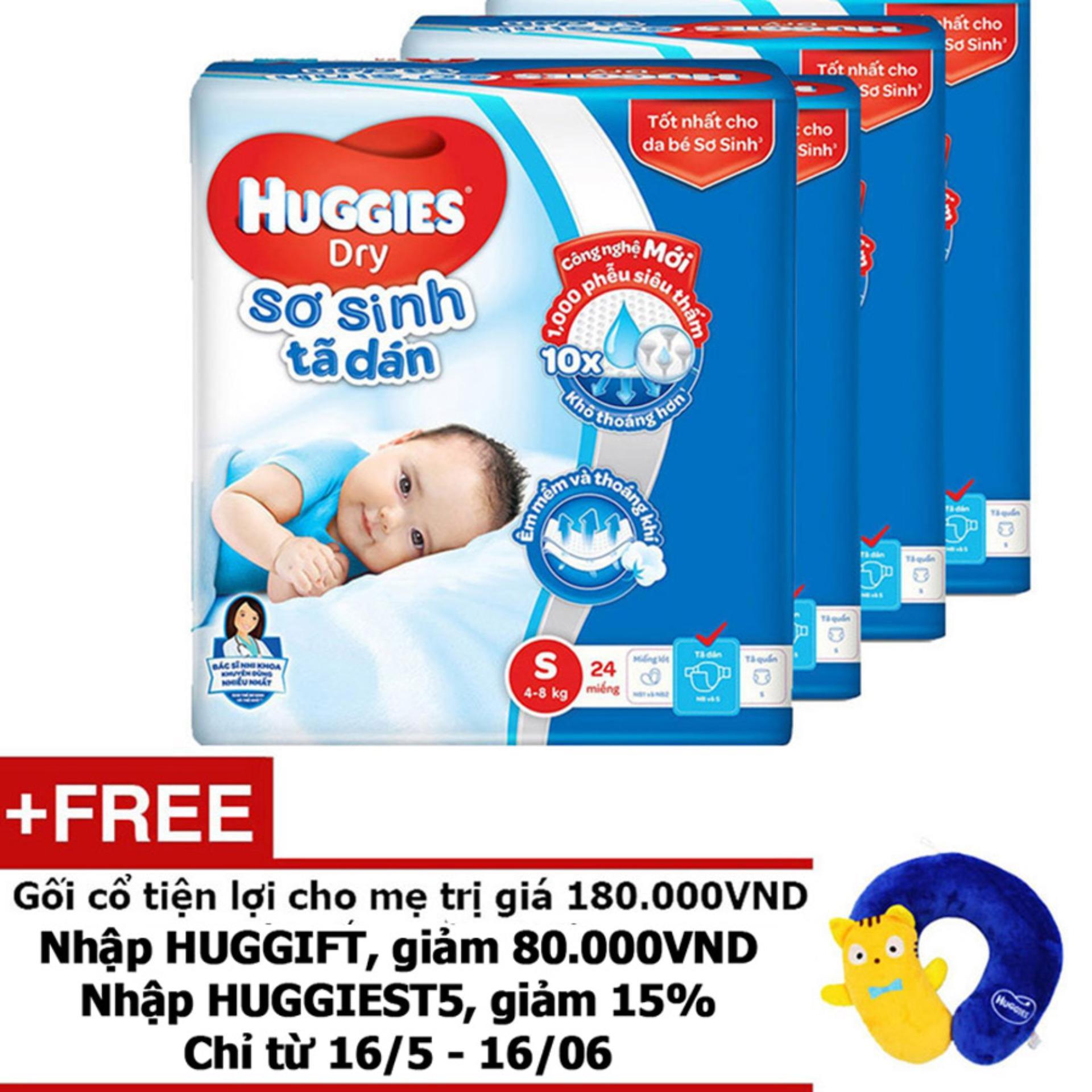 Bộ 4 Tã dán sơ sinh Huggies S24 (5kg - 8kg) - Gói 24 miếng - Tặng 1 Gối cổ tiện lợi cho mẹ trị giá 180.000VND màu sắc ngẫu nhiên