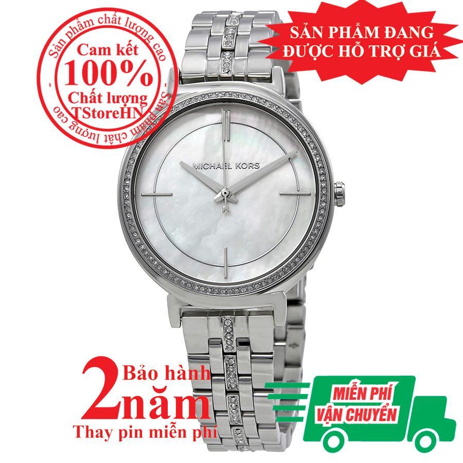 Nơi bán Đồng hồ nữ Michael Kors Cinthia MK3641, Vỏ, mặt và dây màu Bạc (Silver), mặt đồng hồ khảm trai, viền đá pha lê Swarovski, size 33mm