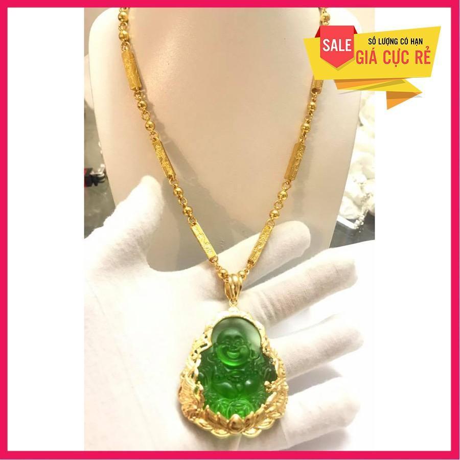 Dây chuyền trúc rồng nam Mặt Phật Di Lạc đá thạch anh cao cấp trang sức mạ vàng 24k (Dây chuyền - kèm mặt đá ngọc bích)