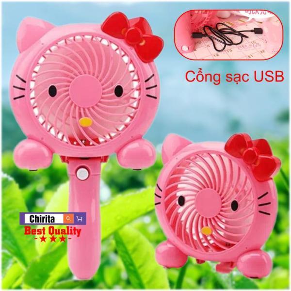 Quạt Sạc Mini Cầm Tay - USB Mini Fan Hand HOẠT HÌNH 8786 Cực Mát - Chirita
