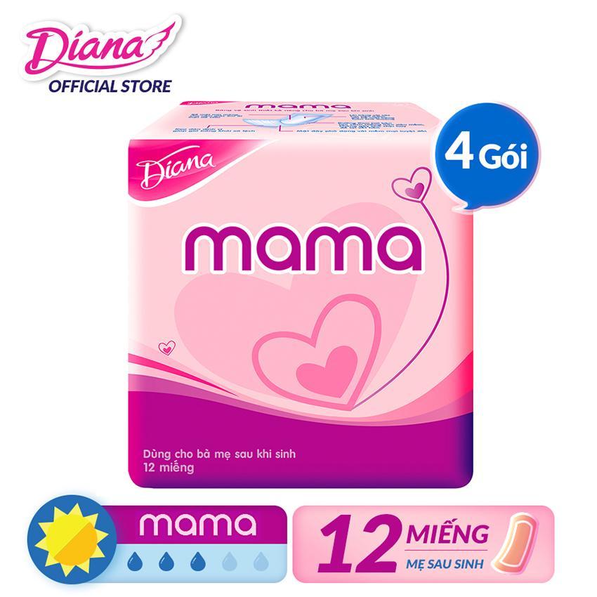 Bộ 4 gói Băng vệ sinh Diana Mama gói 12 miếng nhập khẩu