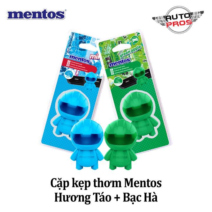 Combo 2 kẹp thơm MENTOS CAR PERFUME (Táo xanh + Bạc hà)
