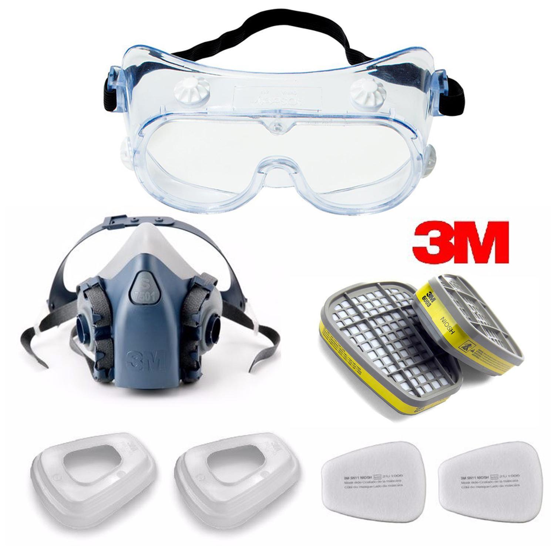Bộ mặt nạ phòng độc 3M 7501 + Phin lọc 3M 6003 + kèm Kính chống hóa chất 3M 334, phun sơn, Phun thuốc sâu | Mặt nạ chống độc | Mặt nạ phòng độc nửa mặt