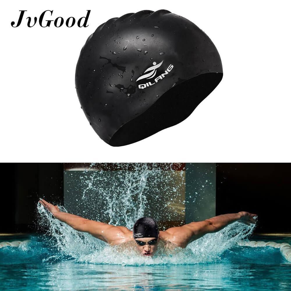 Hình ảnh EsoGoal Swim Cap Long Hair Swimming Cap Waterproof Silicone Hat for Adult Woman and Men (Black) - intl