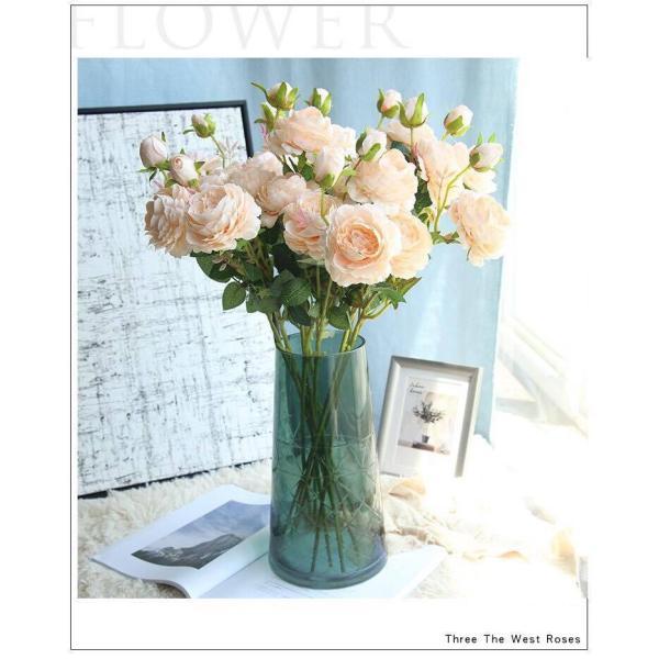 Hoa hồng lụa quý tộc Island cành 3 bông to đẹp- Hoa giả cao cấp-Hoa lụa sang trọng- Hoa hồng giả