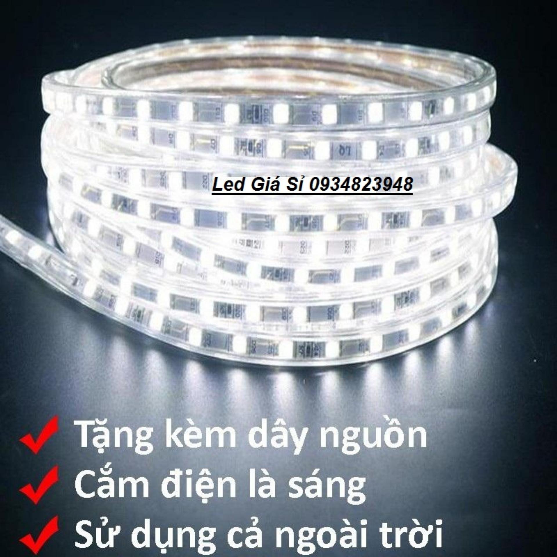 Đèn LED dây 5050 5M ống nhựa 220v tặng kèm 1 dây nguồn tốt