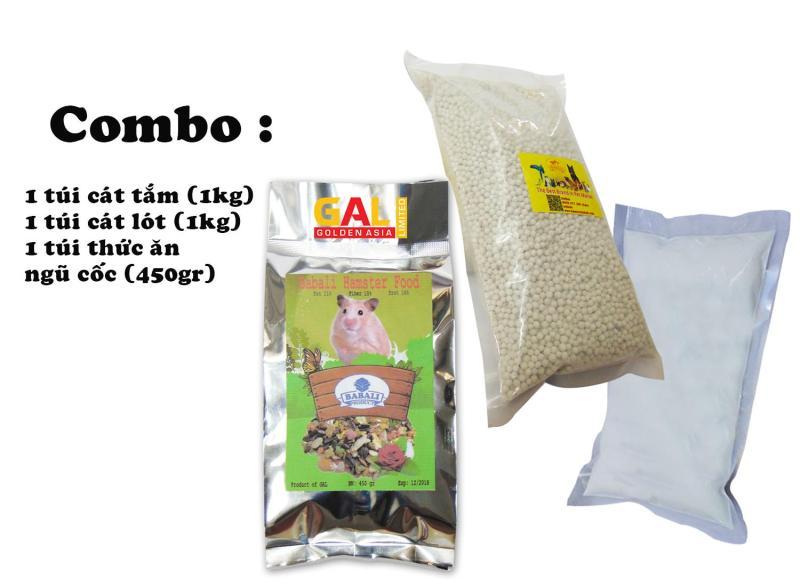 Combo Bộ sản phẩm thức ăn, cát lót, cát tắm dành cho chuột Hamster Galvietnam