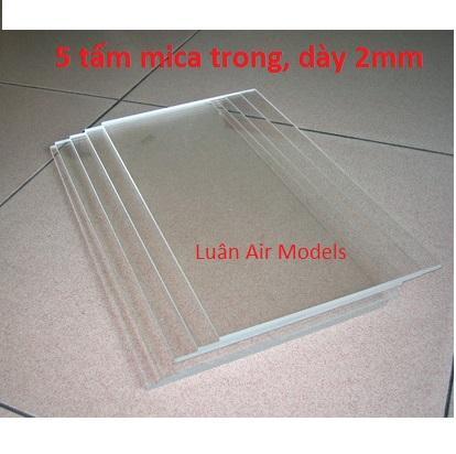 Hình ảnh Combo 5 tấm nhựa mica acrylic cứng trong suốt dày 2mm (dài 19.5cm x rộng 14.5cm) chế đồ chơi sáng tạo, thủ công mỹ nghệ (VA130x5 TP) - Luân Air Models