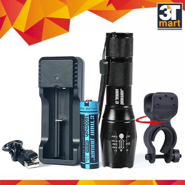 Bảng giá Bộ 1 đèn pin Cmon Power GUARD T6 LED + 1 pin sạc + bộ sạc nhanh USB 1A + giá gắn xe đạp