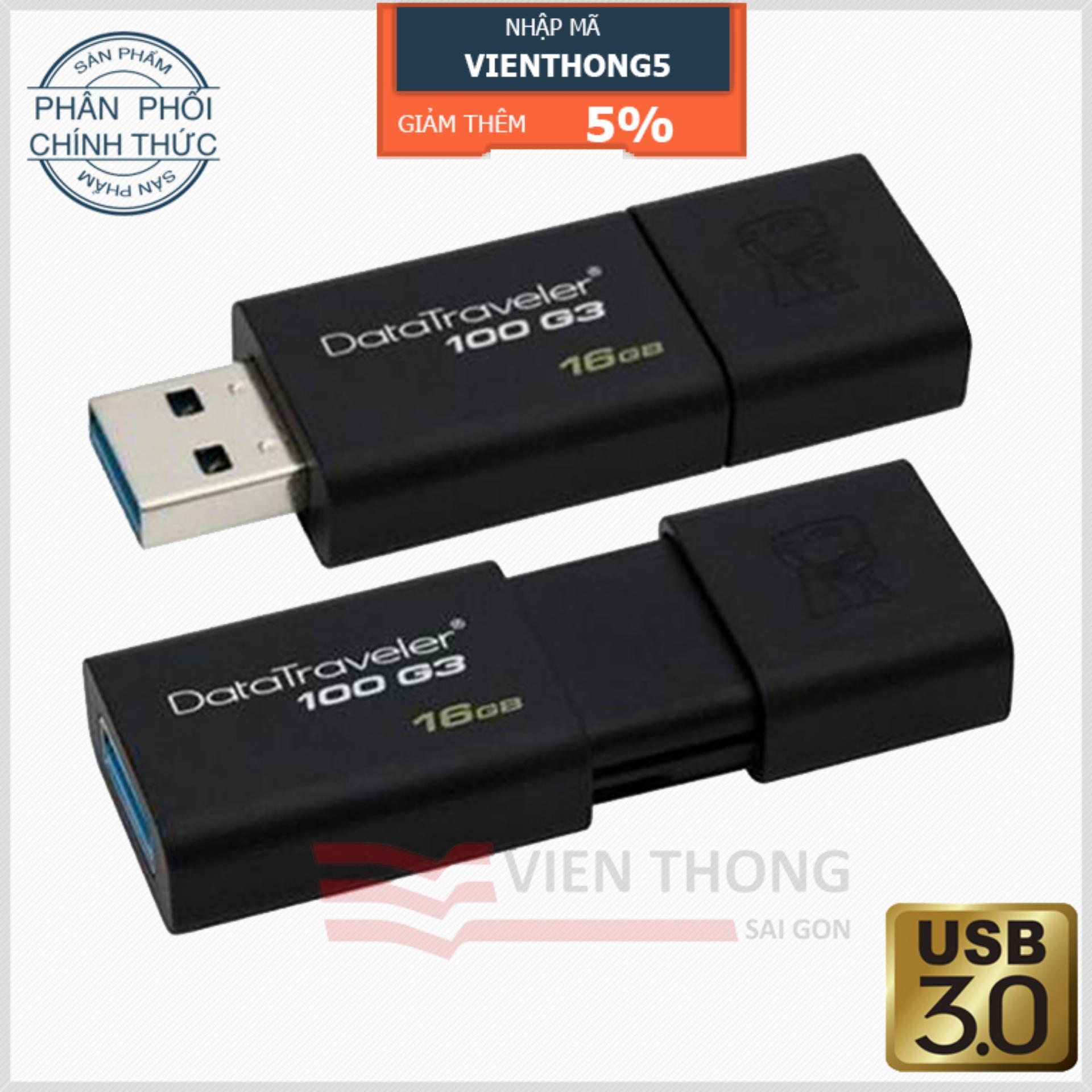 Hình ảnh USB 3.0 16GB Kingston DataTraveler 100 G3 (Đen) – Hãng Phân phối chính thức