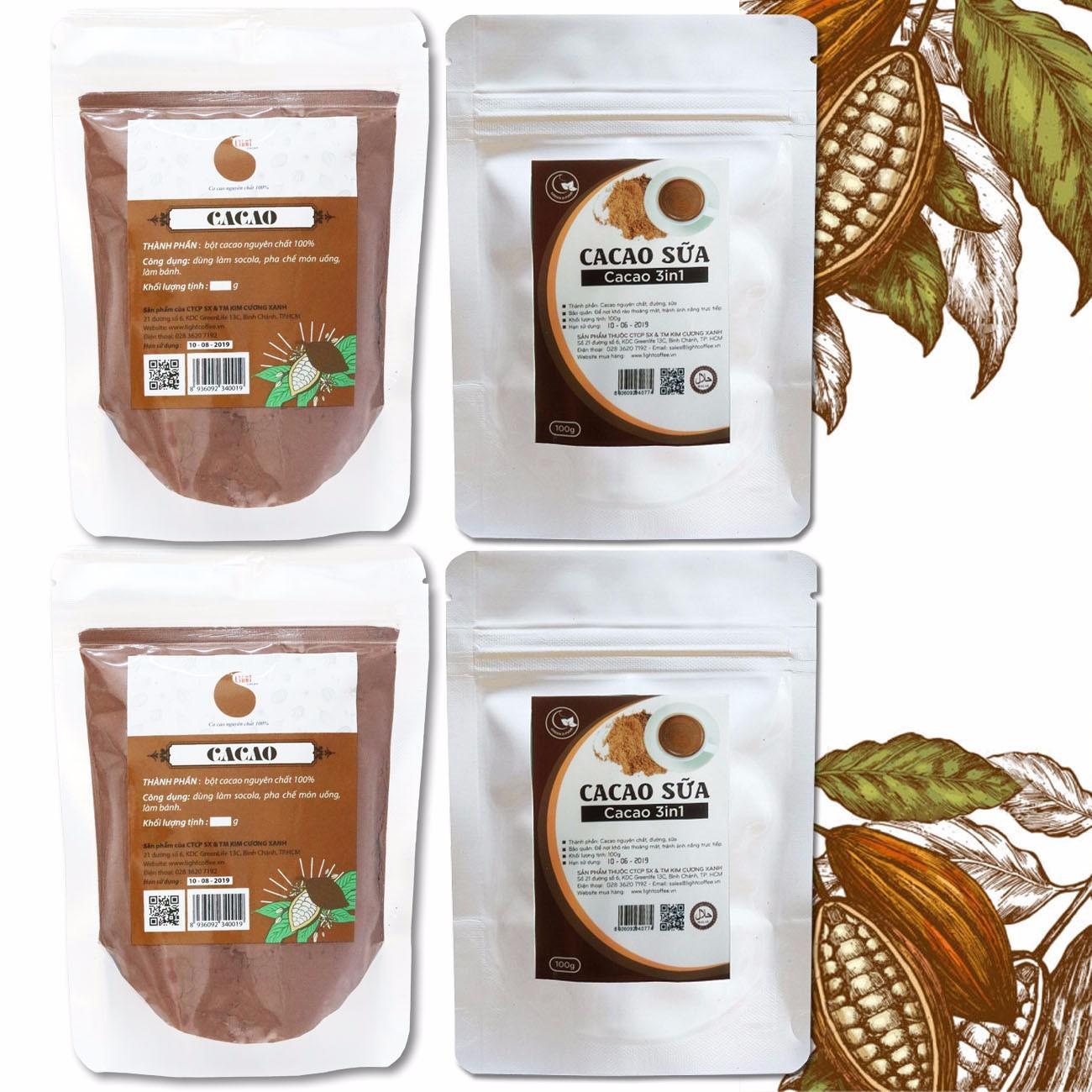 Combo 2 gói bột cacao nguyên chất không đường và 2 gói bột cacao sữa hòa tan Light Cacao - 100gr/gói