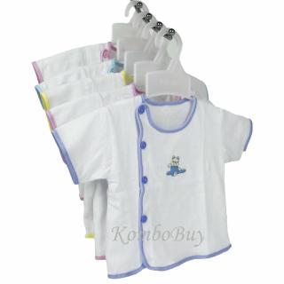 Bộ 5 áo sơ sinh An An tay ngắn màu trắng, cúc lệch cho bé từ 0-9 tháng thumbnail