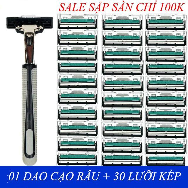 Combo 1 dạo cạo râu và 30 lưỡi dao kép Dao cạo râu