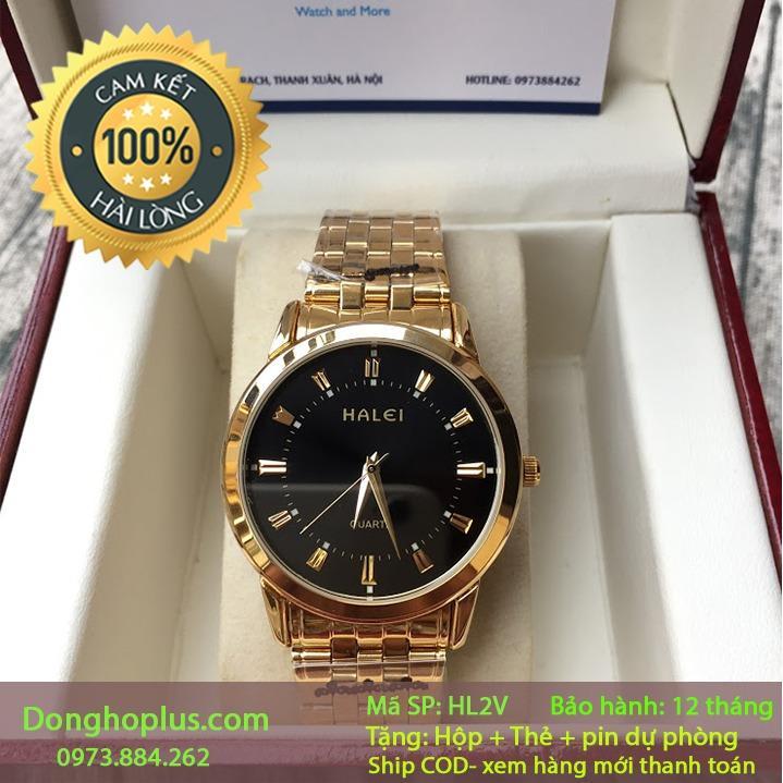 Hình ảnh [SIÊU KHUYẾN MẠI] TẶNG PIN DỰ TRỮ- Đồng hồ nam halei 2V vàng chống nước, chống xước