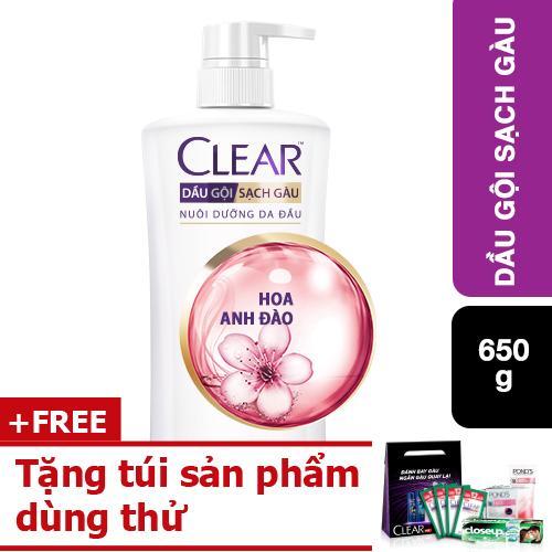 Dầu gội Clear Hương Hoa Anh Đào Thơm Mát 650g tặng túi sản phẩm dùng thử