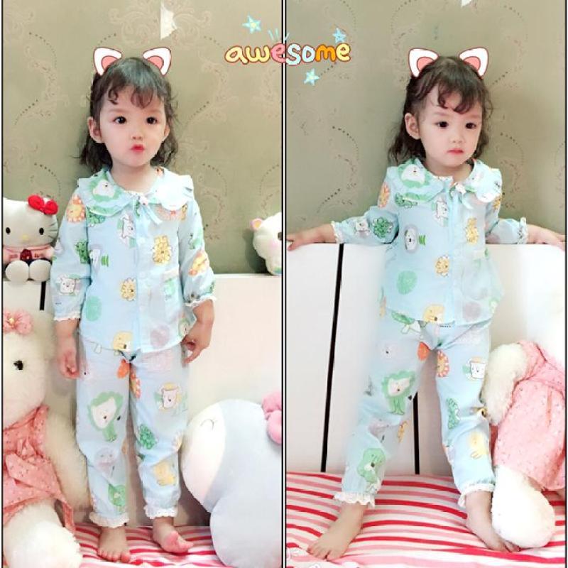 Nơi bán Pijama Dễ Thương Cho Bé gái- Xanh Họa Tiết