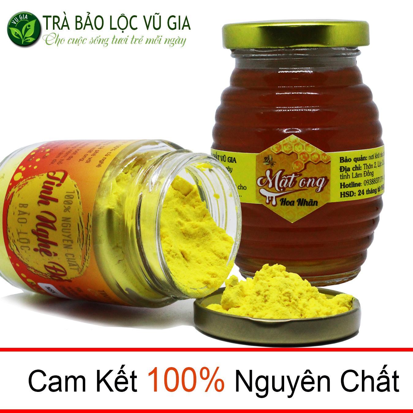 Combo Tinh Nghệ Đỏ 100g + Mật Ong Hoa Nhãn 200ml Nguyên Chất VG nhập khẩu