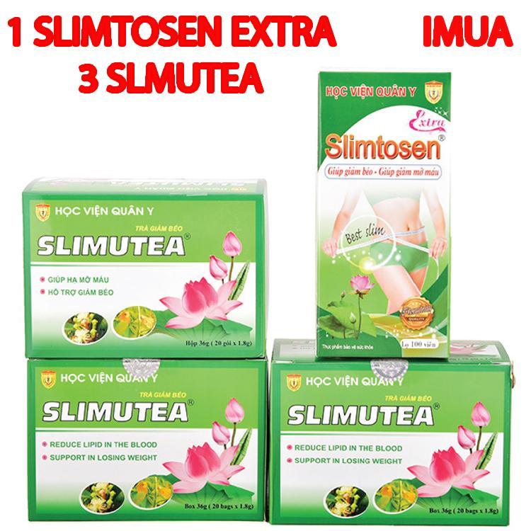 Liệu trình giảm cân an toàn 1 Slimtosen Extra +3 Trà Slimutea Học viện quân y chính hãng