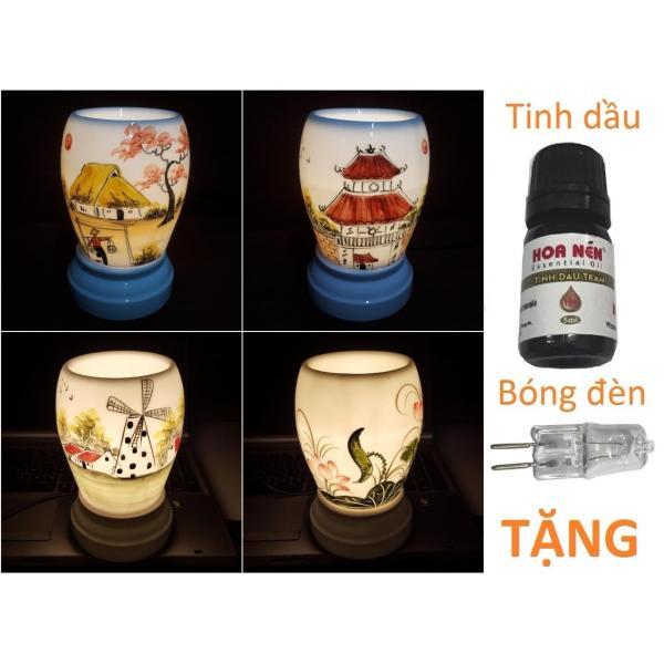 Đèn xông tinh dầu sứ Bát Tràng dáng Trứng TẶNG Tinh dầu + Bóng đèn cỡ TO 11 x 17cm / Đuổi muỗi Diệt muỗi Đèn trang trí
