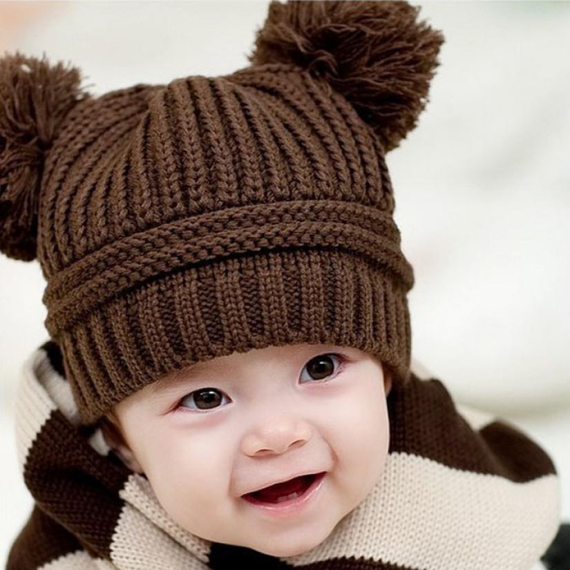 Mũ Len , mũ giữ ấm Hai Cục Bông Cho Bé - MK4