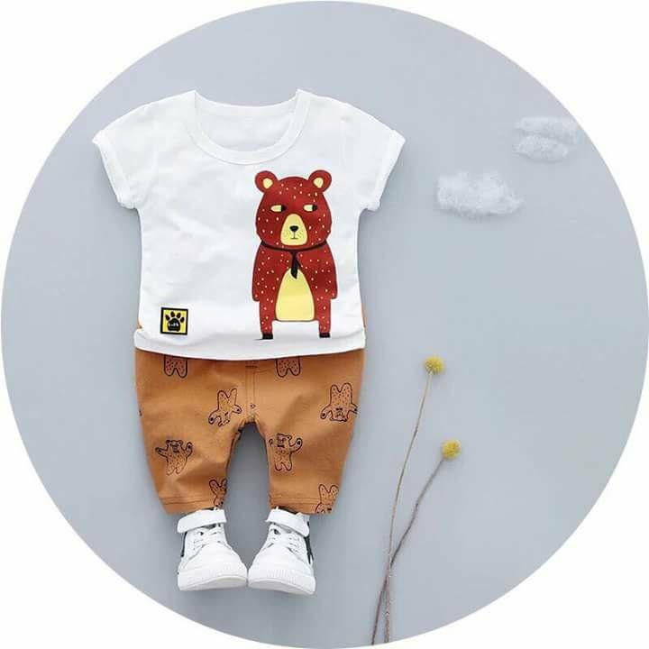 Bộ cotton gấu sành điệu thời trang đủ siez từ 7-20kg