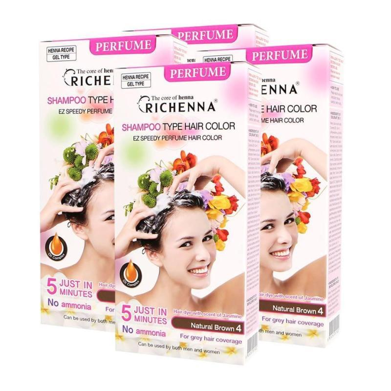Bộ 4 hộp dầu gội nhuộm tóc bạc màu nâu Richenna Natural Brown 4 giá rẻ