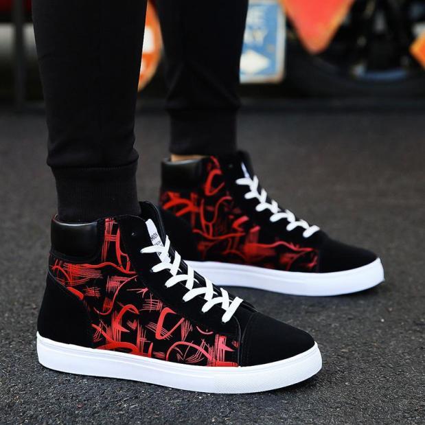 Giày nam cao cổ vải nhung họa tiết in nhiệt sắc nét đế cao su bền đẹp thời trang giaynam - G311 (đen) giá rẻ