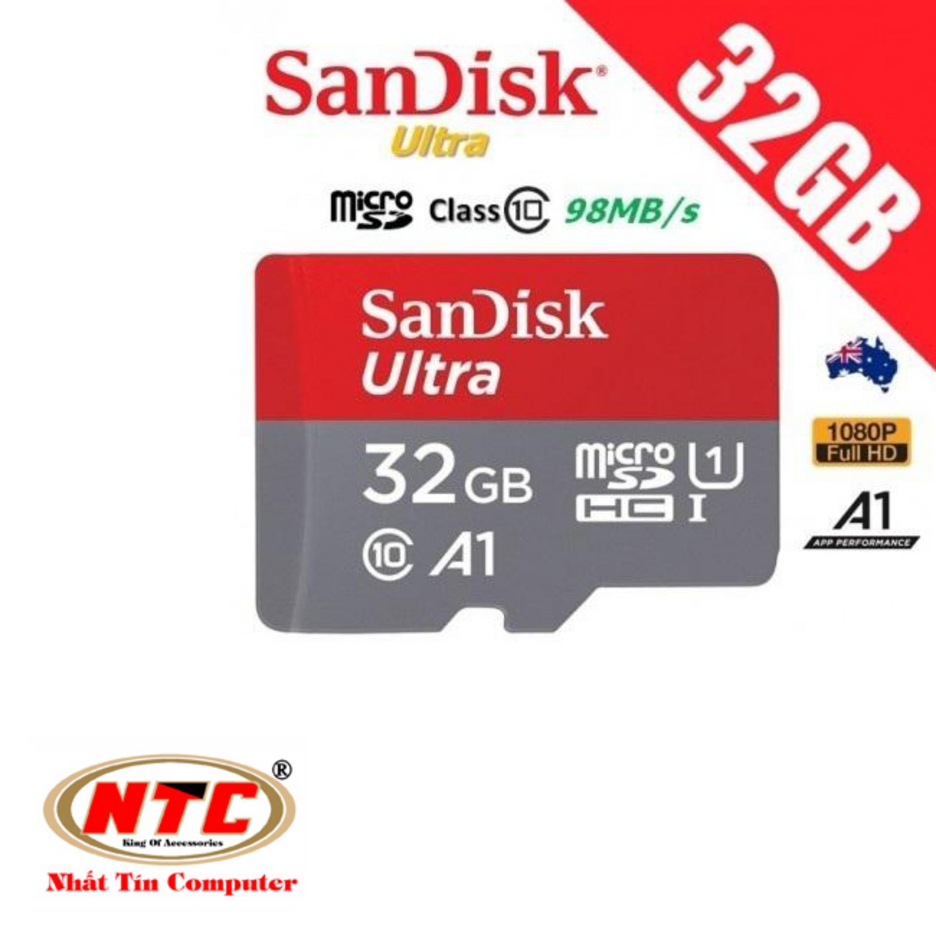 Thẻ nhớ MicroSDHC SanDisk Ultra 32GB 80MB/s đã nâng lên 98MB/s (Đỏ) + Tặng 1 adapter thẻ nhớ MicroSD